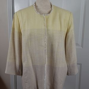Alfred Dunner Yellow, Beige & White Lined Jacket